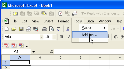 Excel Tools menu